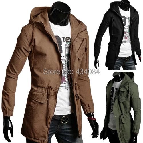Корейский стиль мужская зимнее пальто тонкий длинное пальто толщиной куртка с капюшоном ...