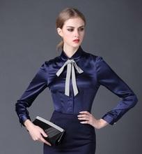Buy 2016 new Satin Shirt Women Long sleeve peter pan collar silk Blouses women work wear uniform office OL shirt simple body tops for $18.88 in AliExpress store