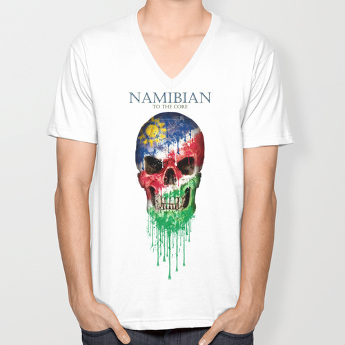 Namibia Skull flag New Fashion trend Men's T-shirts Short Sleeve summer V-neck T shirt(China (Mainland))