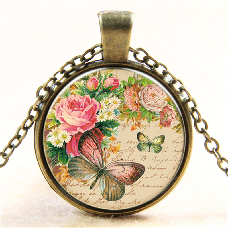 Popular Rose And Butterfly Flower Necklace Dome Cabochon Necklaces Picture Inside Vintage Pendant Necklace For Girls Jewellery(China (Mainland))