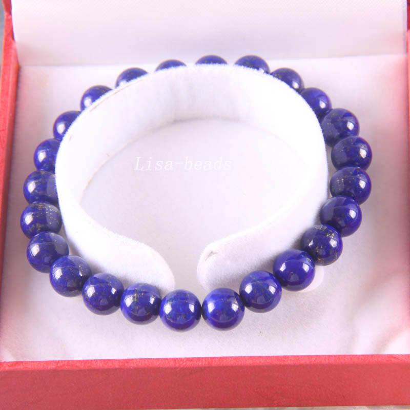 Free Shipping Fine Jewelry Stretch Blue 8MM Round Beads 100% Natural AA Genuine Lapis Lazuli Bracelet 7.5 with Box 1Pcs J026<br><br>Aliexpress