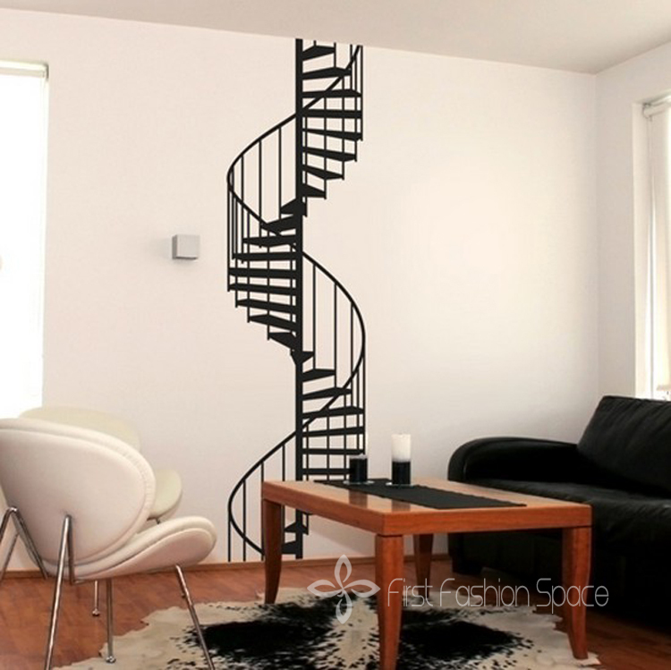new 2015 vinyl spiral staircase wall sticker wall decals