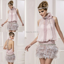 Romatic Sexy Mini Short Lady Formal Dress Halter Beaded Backless Pink Feather Exotic Cocktail Dresses(China (Mainland))
