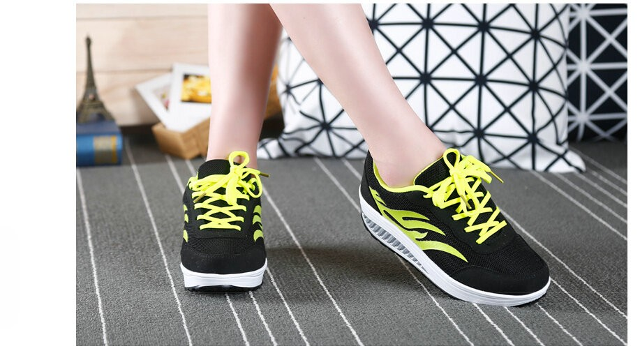2016 Women Spring/Summer Flame pattern Breathable Flat Platform Casual Shoes Womens Swing Walking Shoes Woman 4.5cm Heels