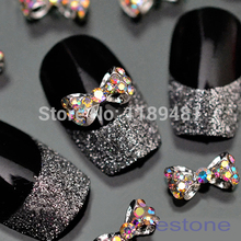 F85 Free Shipping Lot 10pcs Glitter Crystal Bowknot Studs 3D Nail Art Tips Craft DIY Accessories