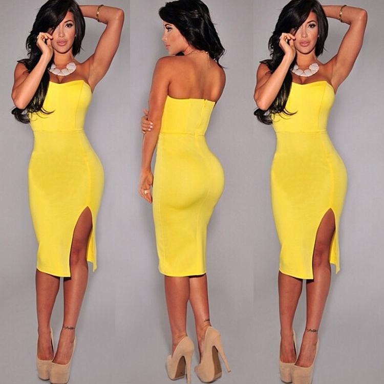 Yellow strapless bandage dress – Dress online uk