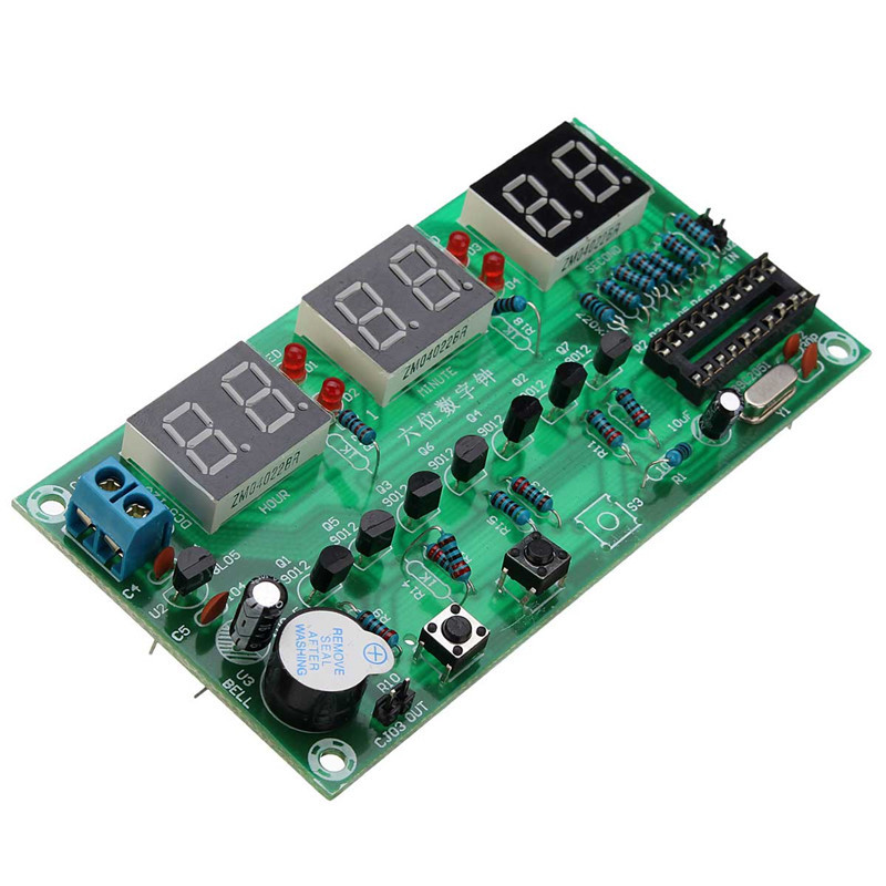 1Pcs DIY Kits AT89C2051 Electronic Clock Digital Clocks Suite DC5V-12V Electronic Parts And Components Accessories(China (Mainland))