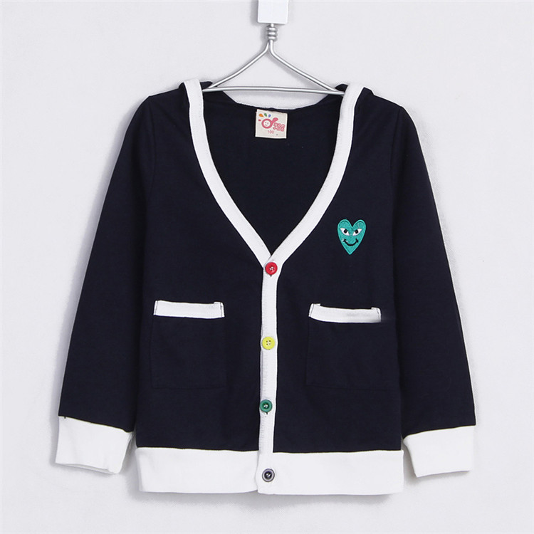 2015 spring and autumn clothing boys girls heart clothing child with a hood cardigan A0828(China (Mainland))