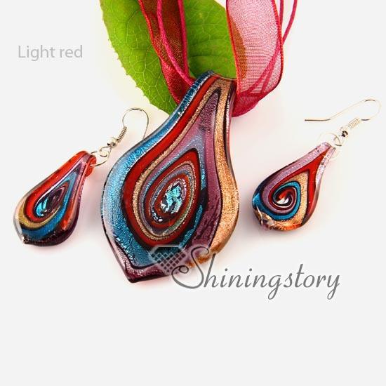 leaf handmade Italian lampwork murano glass necklaces pendants and earrings jewelry sets cheap ladies jewellery
