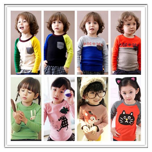 Min. Qty any 2pcs in my shop Size 100~140 Kids Tops tees boys girls cartoon Long Sleeves T shirt Children T-Shirts 8861(China (Mainland))