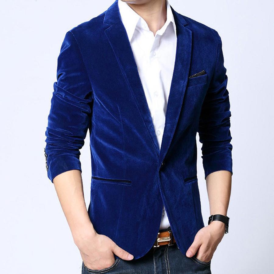 hot sale mens blazers 2016 slim fit cotton velvet male
