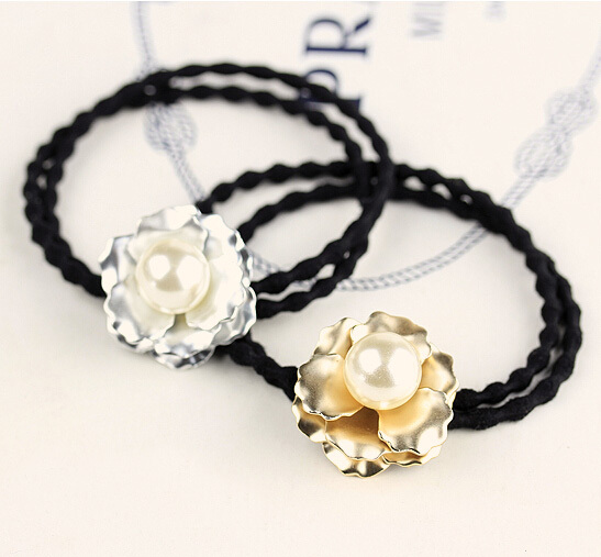 2015Newest Hotsale Free shipping rhinestone hair ties/pearl hair bands for girls(China (Mainland))