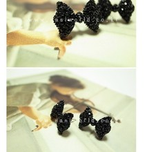 Hot 2015 New Year Gift Fashion Vintage Stud Earrings Black Bow Tie Earrings Jewelry Accessories for