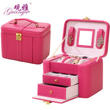 Purple color Korean style jewelry boxes wood frame structure jewelry box high-grade leather jewelry race(China (Mainland))