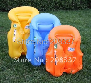New arrival 2pcs/lot inflatable pool school deluxe children swim vest life jacket  mixcolor --free shipping