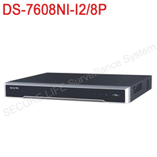 In stock DS-7608NI-I2/8P English version 2SATA, 8 POE ports 8ch NVR supporting third-party camera, plug & play NVR POE 8ch H.265