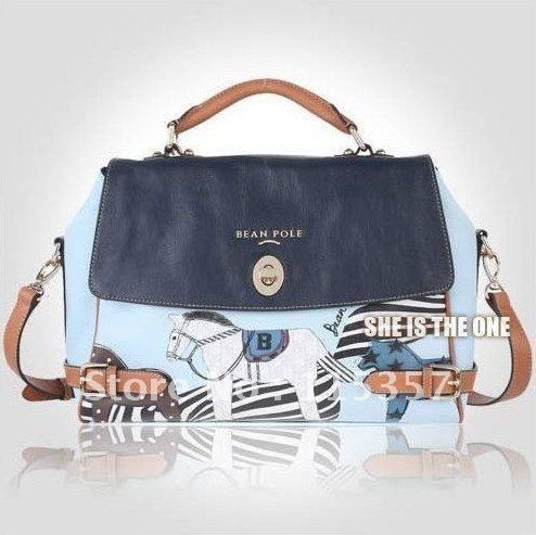 New design with carton horse on the bag body metal button 2 colors top quality PU Leather girl's lady's handbags shoulder bag(China (Mainland))
