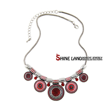 2015New Choker Necklace Fashion Ethnic Collares Vintage Silver Plated Colorful Bead Pendant Statement Necklace For Women