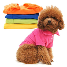 Hot Sales Casual Puppy Cat Pet Dog Clothes Lapel POLO T-Shirts Solid Cozy Shirt XS S M L LM76(China (Mainland))