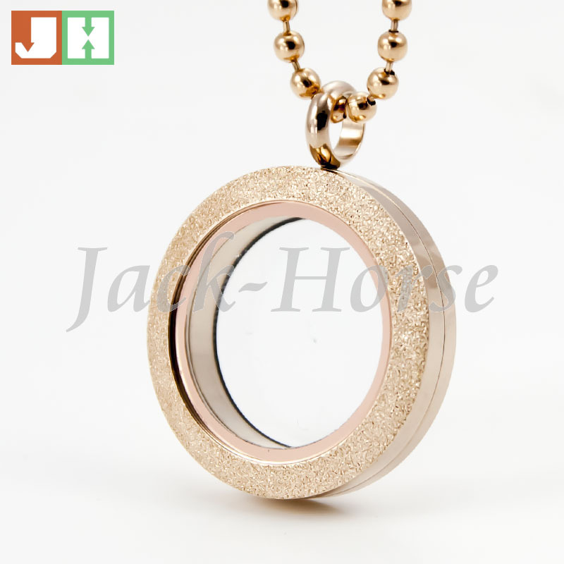 Newest 25mm 30mm stainless steel round rose parkle glass locket <br><br>Aliexpress