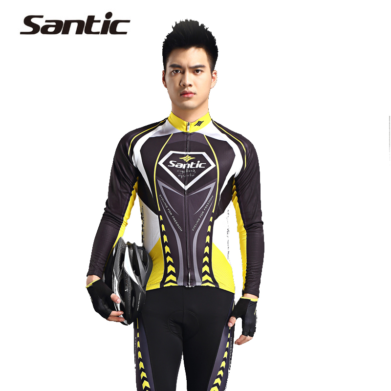 SANTIC Men XXXL Cycling Clothing 2015 Long Sleeve Cycling Jersey + 4D Padded Pants Sets Racing Bike Jersey Tights Sportswear
