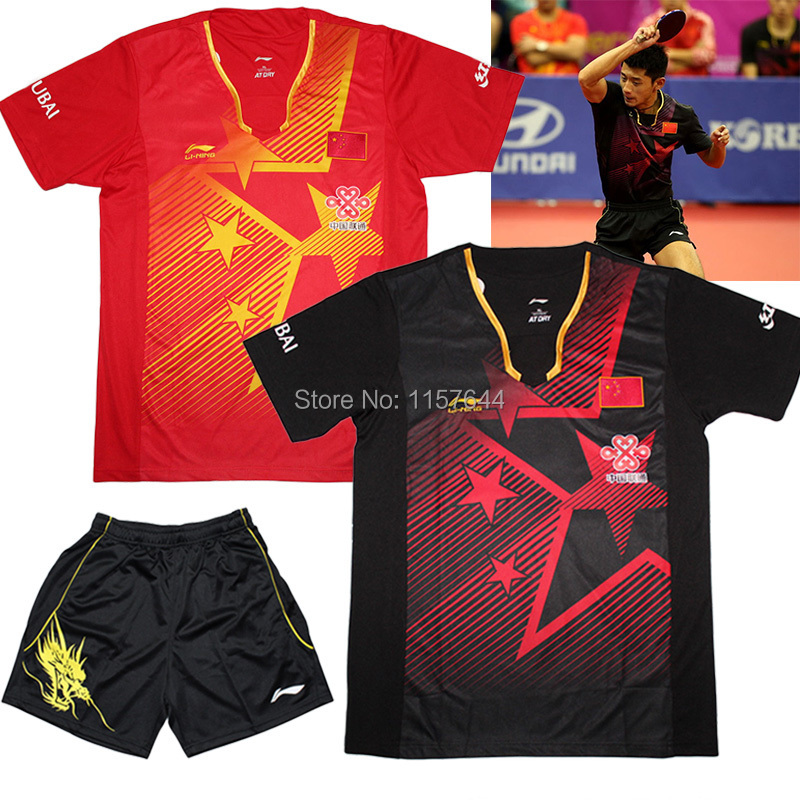 "No ""CHINA""  ,New LI-NING CHINA Table Tennis Clothes Men ,  Zhang JiKe table tennis shirts shorts , Pingpong Jerseys(China (Mainland))"