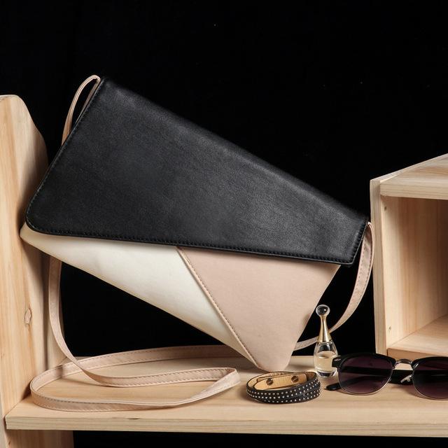 2016 новых женщин сумки пэчворк цвет Конверт сцепления сумка сумка на плечо мешочек женщины искусственная кожа сумки
