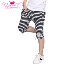 Sisiprincess Summer Style 2 Colors Boys Pants Cotton Material with Pocket Children Knee Length Stripe Pants 5(China (Mainland))