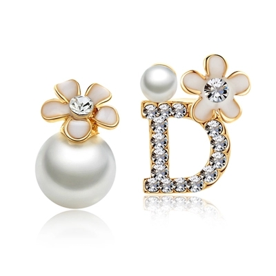 Fine Camellia Flower Stud Earrings Gold Plated Crystal D Pearl Earrings boucle d'oreille Fashion Wedding Jewelry For Women(China (Mainland))