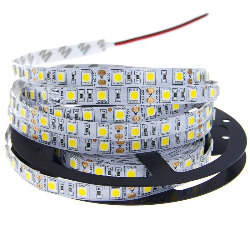 5M SMD 5050 LED Strip Light 60LEDs/M 300LEDs DC 12V Cold White/Red/Green/Blue/Yellow/RGB Flexible Led Strip Decoration Lighting(China (Mainland))