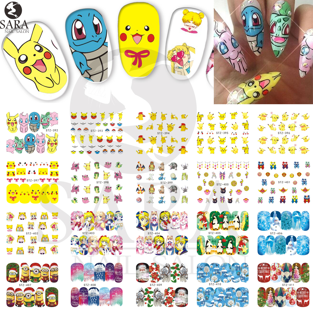 1Sheet Merry Christmas Style Nail Art Water Transfer Stickers Full Wraps Cute Cartoons Watermark Nail Tips Decals DIY STZ392-414(China (Mainland))