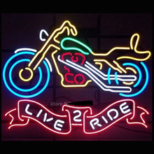 Live 2 Ride Motorcycle Neon Sign Neon Bulbs Recreation Garage Cool Neon Signs Glass Tube Neon Glass Light Store Display 30X24(China (Mainland))