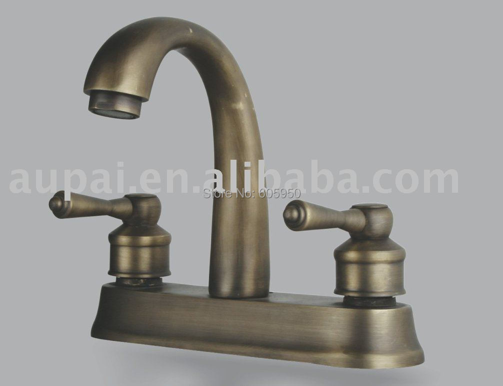 Free shipping dual hole classic mixer faucet antique brass lavatory basin faucet f 5017 in Antique brass faucet bathroom