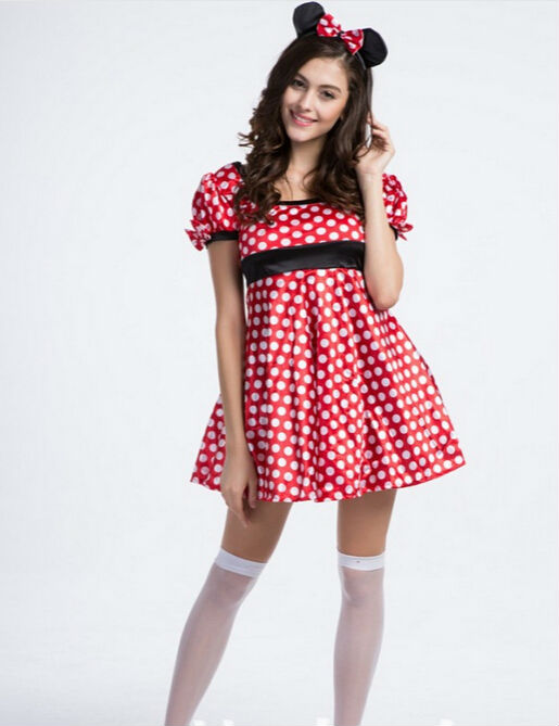 2016 NEW Halloween Cosplay Adult Minnie Mouse Costume Free Shipping Red and White Dots Minnie Mouse Halloween Costume(China (Mainland))
