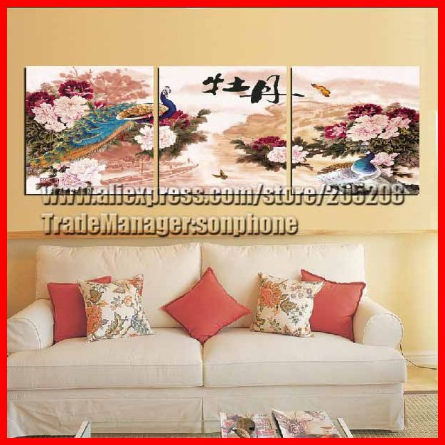 Framed 3 Tableau Peinture Large Peony and Peacock Painting Chinese Oil Paintings Wall Art Picture Quadros De Parede XD02385(Hong Kong)