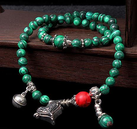 Nepal 6mm malachite stone beads Buddhist bracelet japa mala yoga Meditation women wrist bangles(China (Mainland))