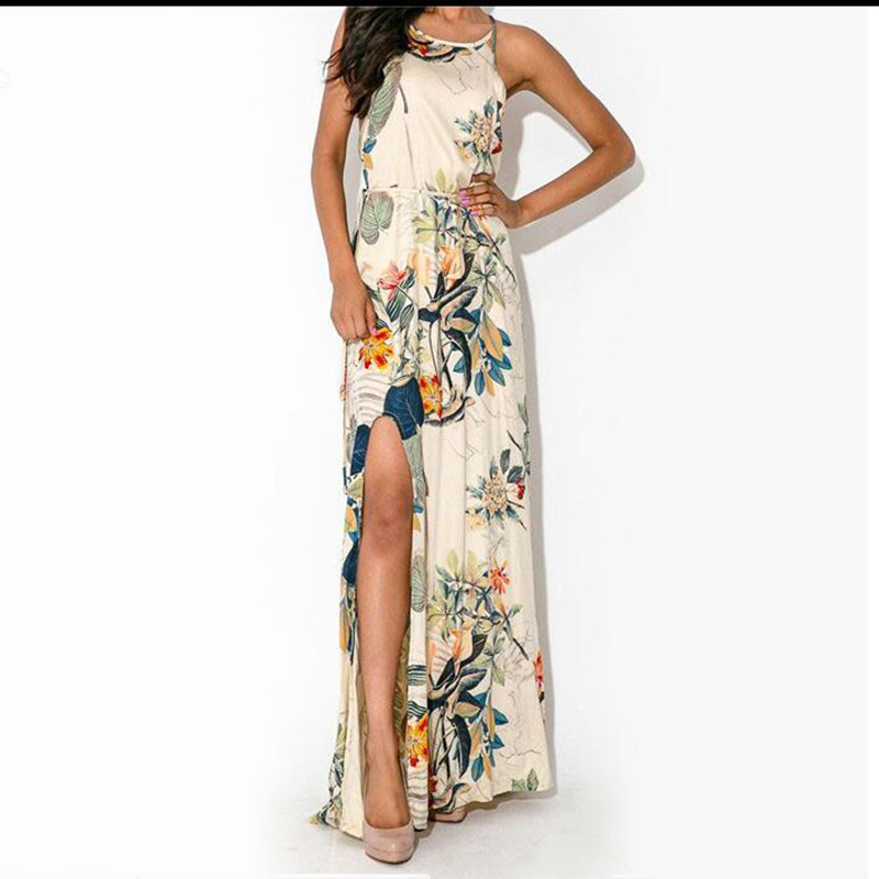 2016 New Women's Sexy Printed Long Dresses Beach Wear Brand Elegant Ladies Clothing Spaghetti Strap Backless Split Maxi Dress(China (Mainland))