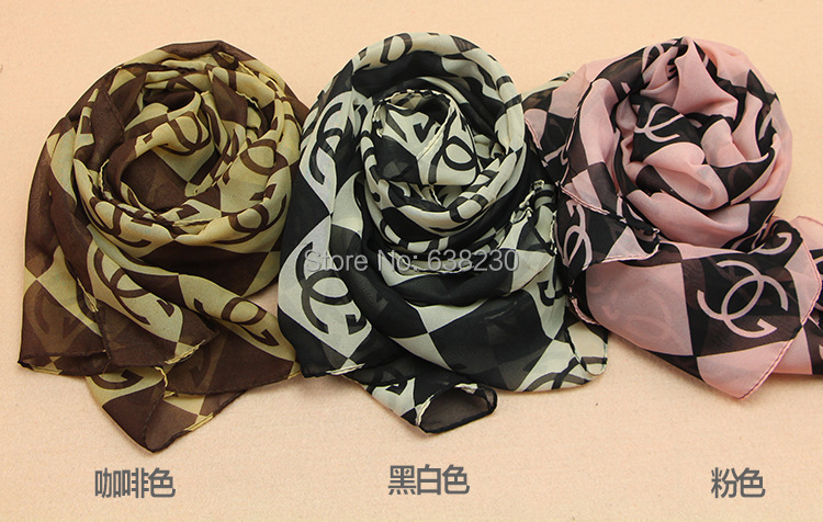 2014 High Quality Brand New Style Women's Long Silk Scarf chiffon scarves Velvet Chiffon Printed Letter Scarf Shawl Wholesale(China (Mainland))