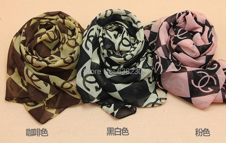 2014 High Quality Brand New Style Women's Long Silk Scarf chiffon scarves Velvet Chiffon Printed Letter Scarf Shawl Wholesale(China (Mainland))