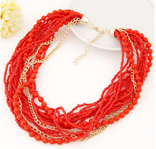 Star Jewelry Fashion Brand Europe Popular Beads multi layer Gold Pendants Choker Necklace For Woman 2015
