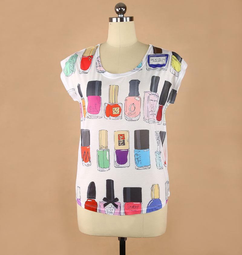 plus size t shirts for women Perfume bottle digital printing ladies fashion T-shirt summer clothing Dropship YK121(China (Mainland))