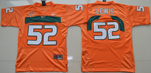 New Arrival High Quality Nike Miami Hurricanes Ray Lewis 52 College T-shirt Jersey - White Size S,M,L,XL(China (Mainland))