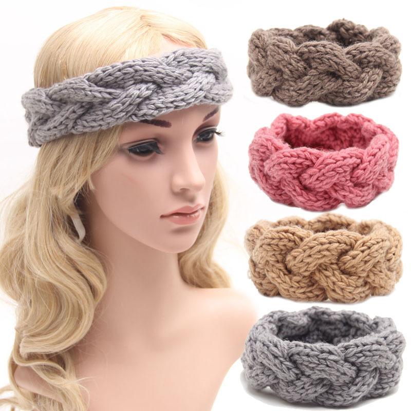 winter knitted women adult warm crochet braided headband wool scrunchy elastic headbands hair head bands accessories for women(China (Mainland))