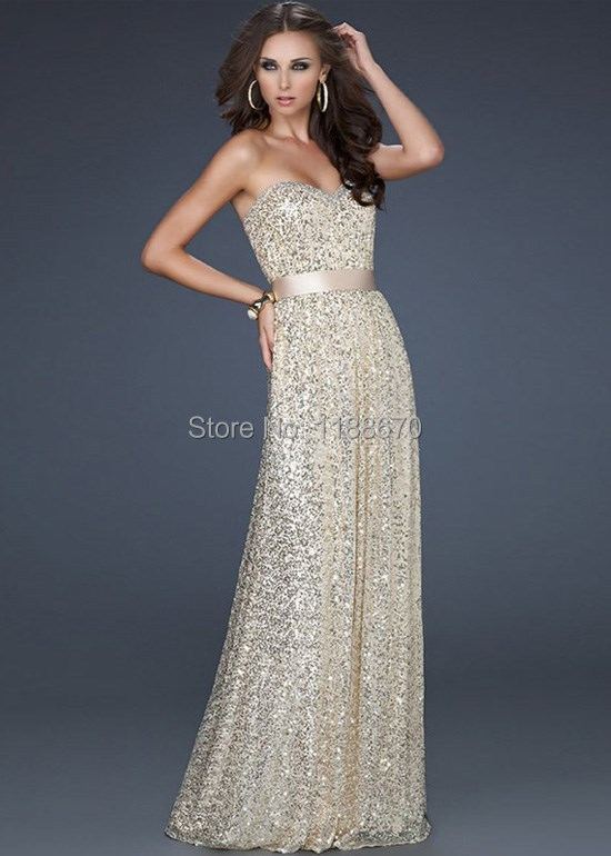 2015 Popular Custom Made Light Gold Strapless Sequins Jewels A-line Long Evening Dresses/ Prom Dresses
