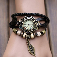 New Hot Sale Original High Quality Women Genuine Leather Vintage Watches Bracelet Wristwatches Leaf Pendant 1NU5
