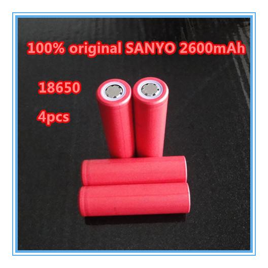4pcs/lot Original New Sanyo 18650 Li-ion rechargeable battery 2600mAh Free Shipping(China (Mainland))