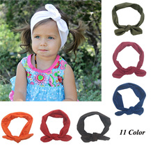 Trendy Lovely Rabbit Ears Bowknot Shaped Elastic Cloth Baby Girls Handmade Hairbands Fashion Children Hair Accessories