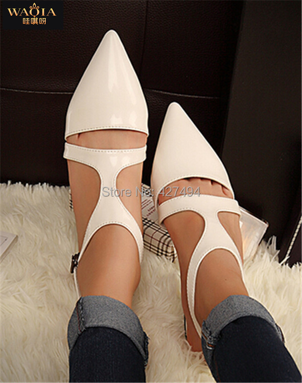 New 2015 Summer Spring Casual Woman Flats PU Pointed Toe Buckle Strap Sandals Cut Outs Breathable Joker Lady Shoes High Street(China (Mainland))