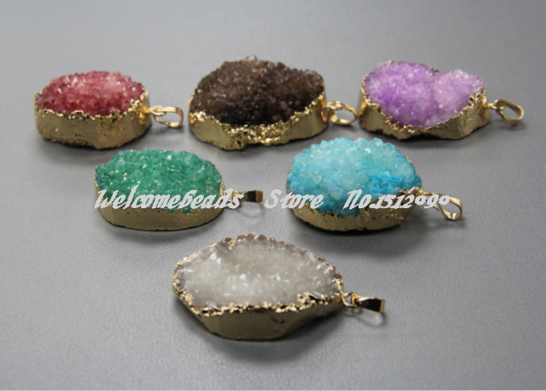 6pcs Natural Druzy Quartz Crystal Charm Pendant in Mixed Colors,Gold Plated Connector Agate Stone Finding Beads Fashion Necklace