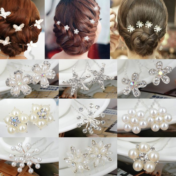 Fashion 20pcs/set Crystal Pearl Bridal Wedding Prom Hair Pins Accessory Clip Women Jewelry - mixlot (no min order store)